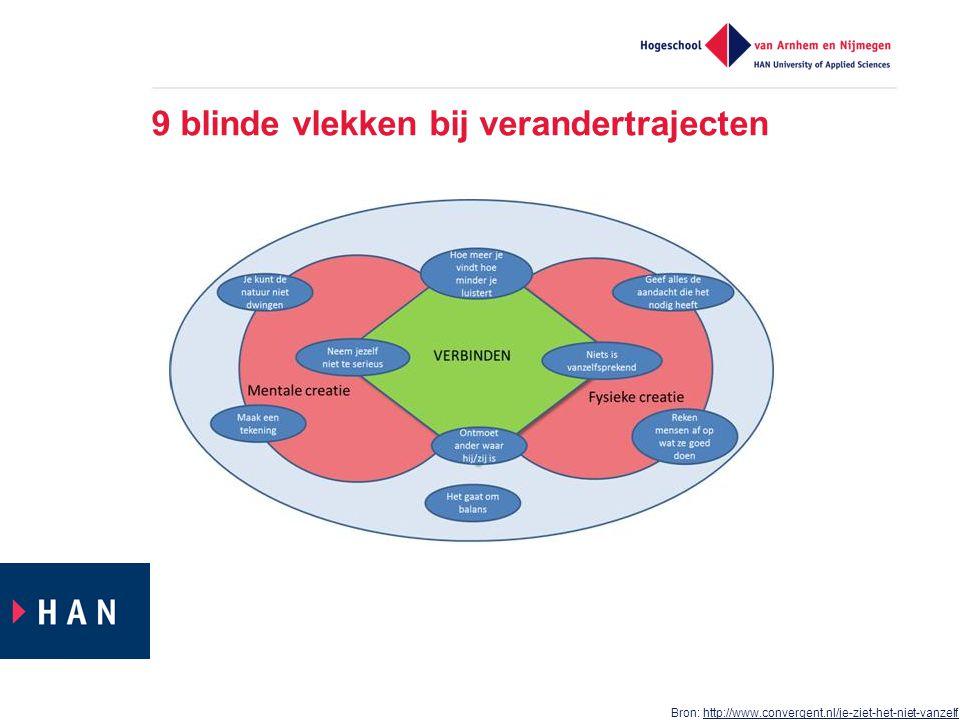 9 blinde vlekken bij verandertrajecten Bron: http://www.convergent.nl/je-ziet-het-niet-vanzelfhttp://www.convergent.nl/je-ziet-het-niet-vanzelf