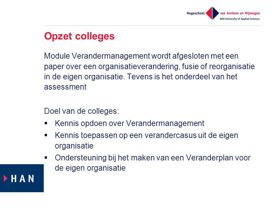 Opzet colleges Module Verandermanagement wordt afgesloten met een paper over een organisatieverandering, fusie of reorganisatie in de eigen organisati