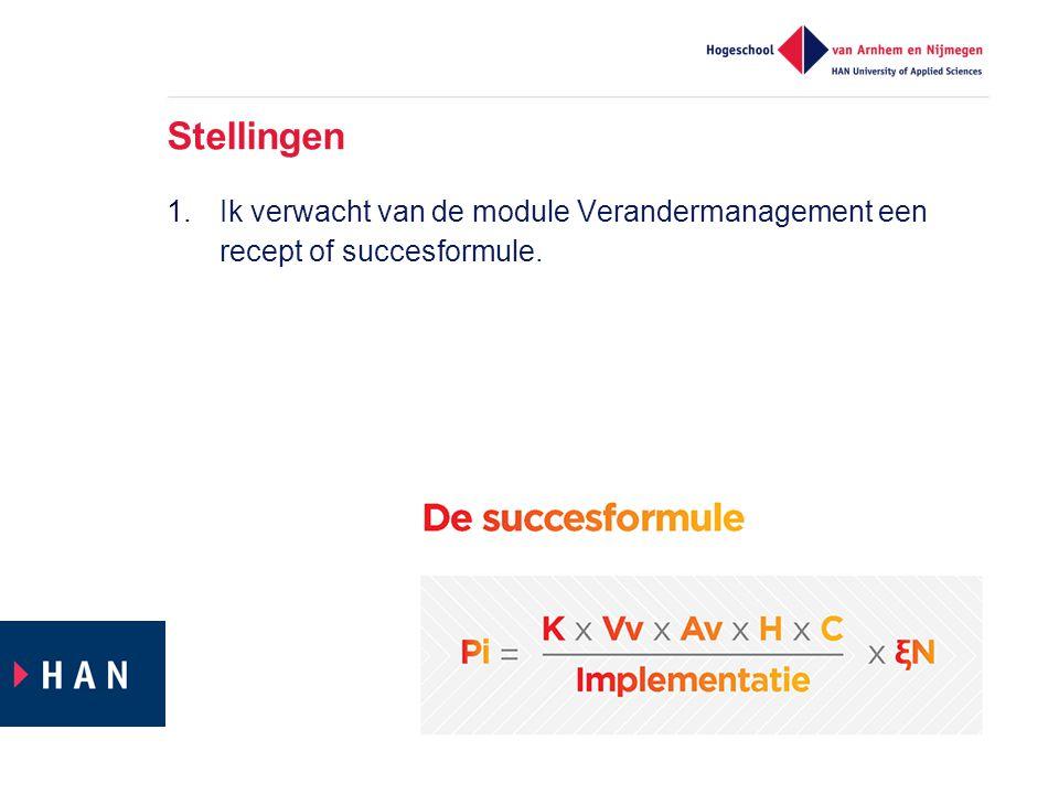 Stellingen 1.Ik verwacht van de module Verandermanagement een recept of succesformule.