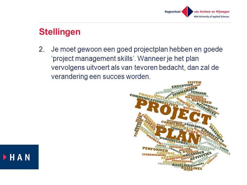 Stellingen 2.Je moet gewoon een goed projectplan hebben en goede 'project management skills'. Wanneer je het plan vervolgens uitvoert als van tevoren