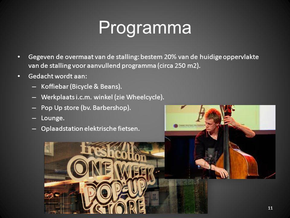 Programma Gegeven de overmaat van de stalling: bestem 20% van de huidige oppervlakte van de stalling voor aanvullend programma (circa 250 m2). Gedacht