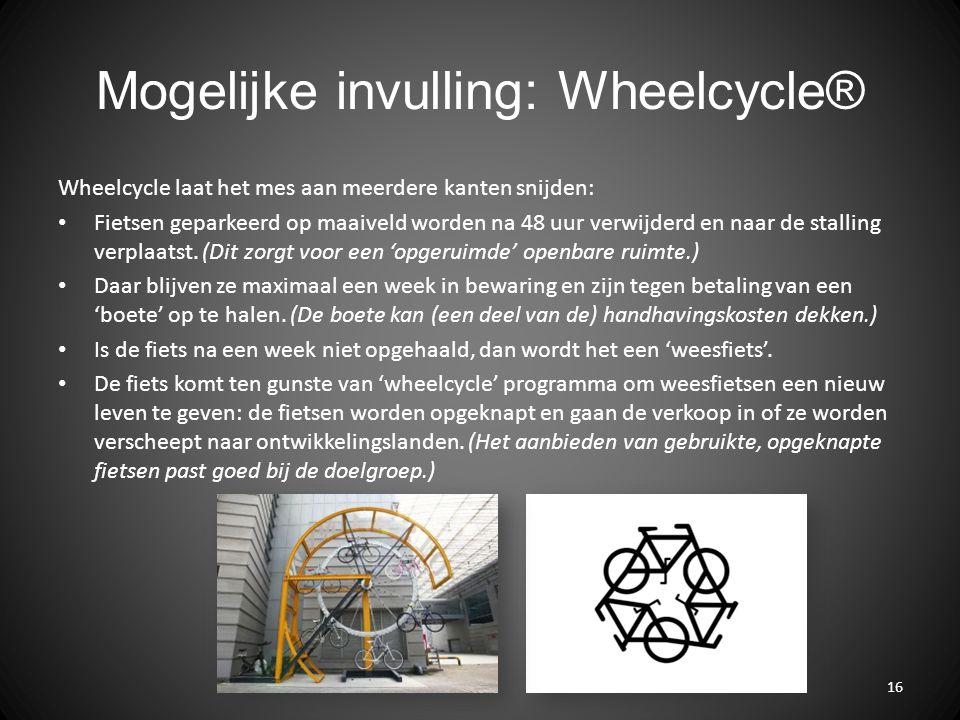 Mogelijke invulling: Wheelcycle® Wheelcycle laat het mes aan meerdere kanten snijden: Fietsen geparkeerd op maaiveld worden na 48 uur verwijderd en naar de stalling verplaatst.
