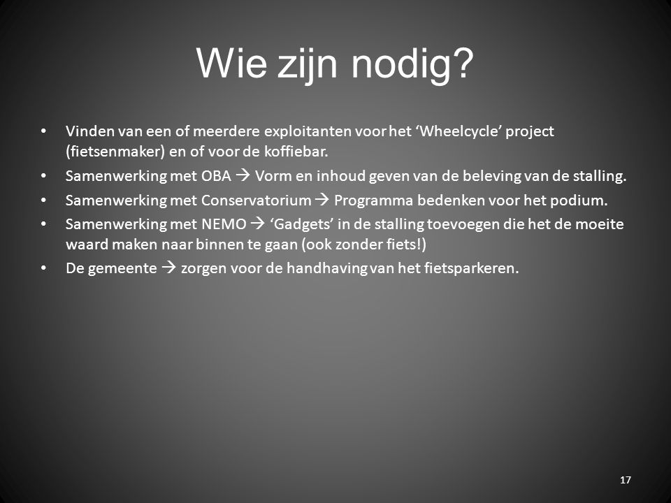 Wie zijn nodig? Vinden van een of meerdere exploitanten voor het 'Wheelcycle' project (fietsenmaker) en of voor de koffiebar. Samenwerking met OBA  V