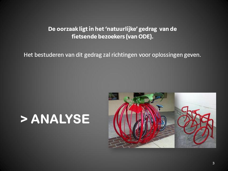 > ANALYSE De oorzaak ligt in het 'natuurlijke' gedrag van de fietsende bezoekers (van ODE). Het bestuderen van dit gedrag zal richtingen voor oplossin