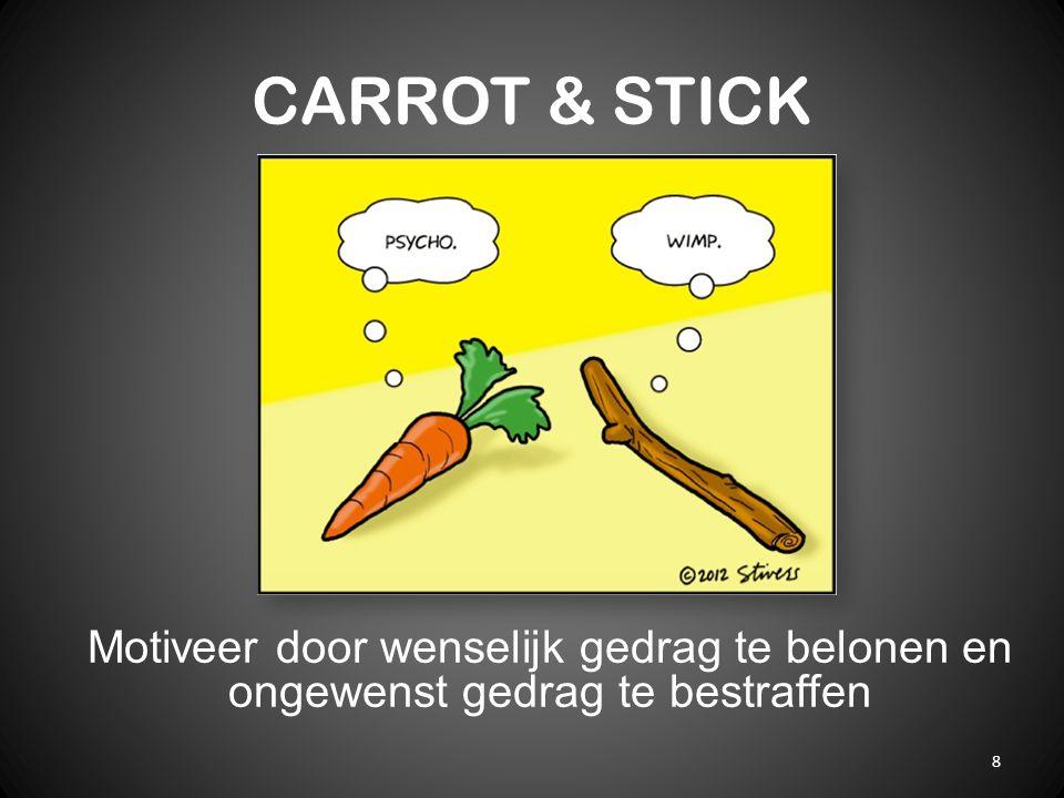 CARROT & STICK 8 Motiveer door wenselijk gedrag te belonen en ongewenst gedrag te bestraffen