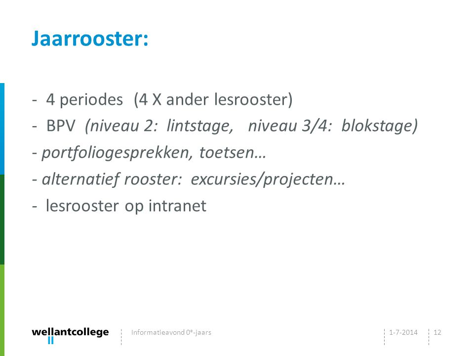 Jaarrooster: - 4 periodes (4 X ander lesrooster) - BPV (niveau 2: lintstage, niveau 3/4: blokstage) - portfoliogesprekken, toetsen… - alternatief rooster: excursies/projecten… - lesrooster op intranet 1-7-2014Informatieavond 0 e -jaars12