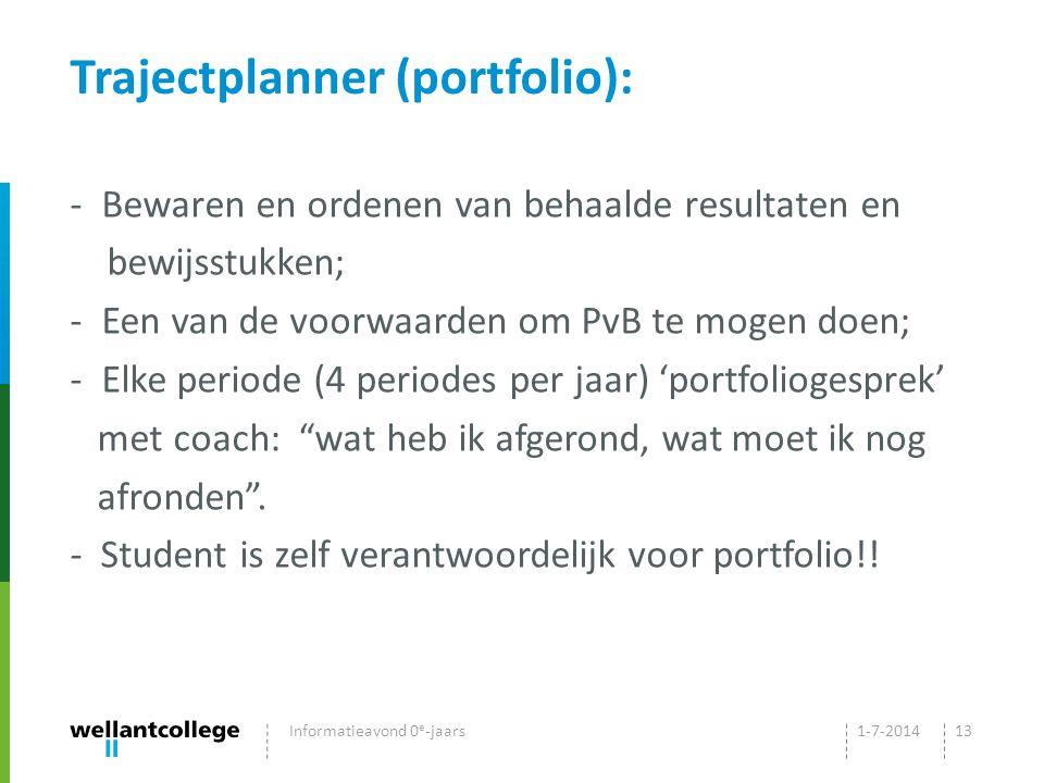 Trajectplanner (portfolio): - Bewaren en ordenen van behaalde resultaten en bewijsstukken; - Een van de voorwaarden om PvB te mogen doen; - Elke periode (4 periodes per jaar) 'portfoliogesprek' met coach: wat heb ik afgerond, wat moet ik nog afronden .