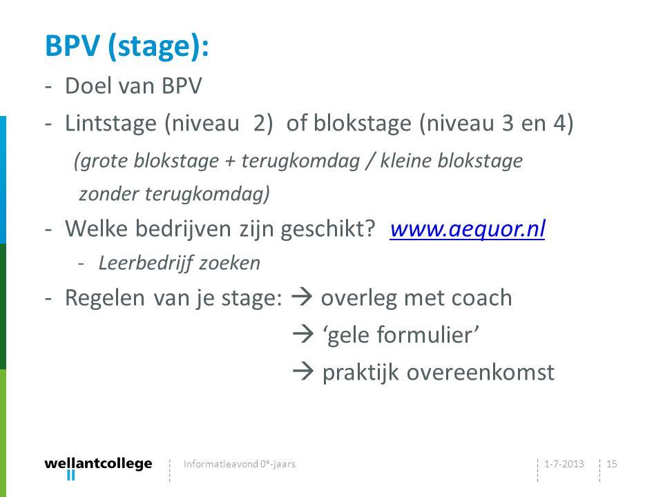 BPV (stage): - Doel van BPV - Lintstage (niveau 2) of blokstage (niveau 3 en 4) (grote blokstage + terugkomdag / kleine blokstage zonder terugkomdag) - Welke bedrijven zijn geschikt.