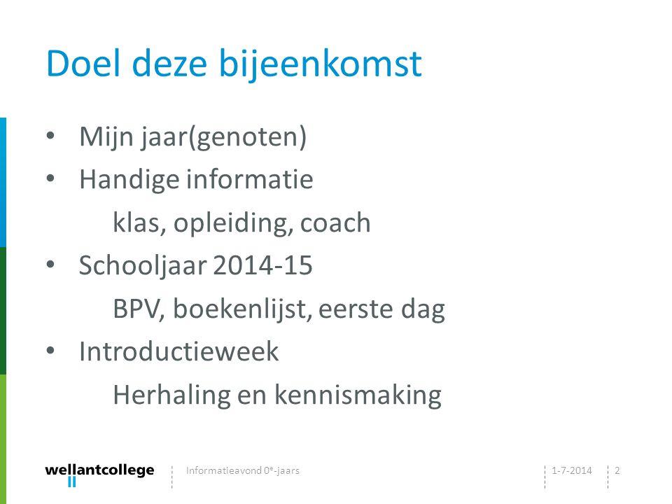 Doel deze bijeenkomst Mijn jaar(genoten) Handige informatie klas, opleiding, coach Schooljaar 2014-15 BPV, boekenlijst, eerste dag Introductieweek Herhaling en kennismaking 1-7-2014Informatieavond 0 e -jaars2
