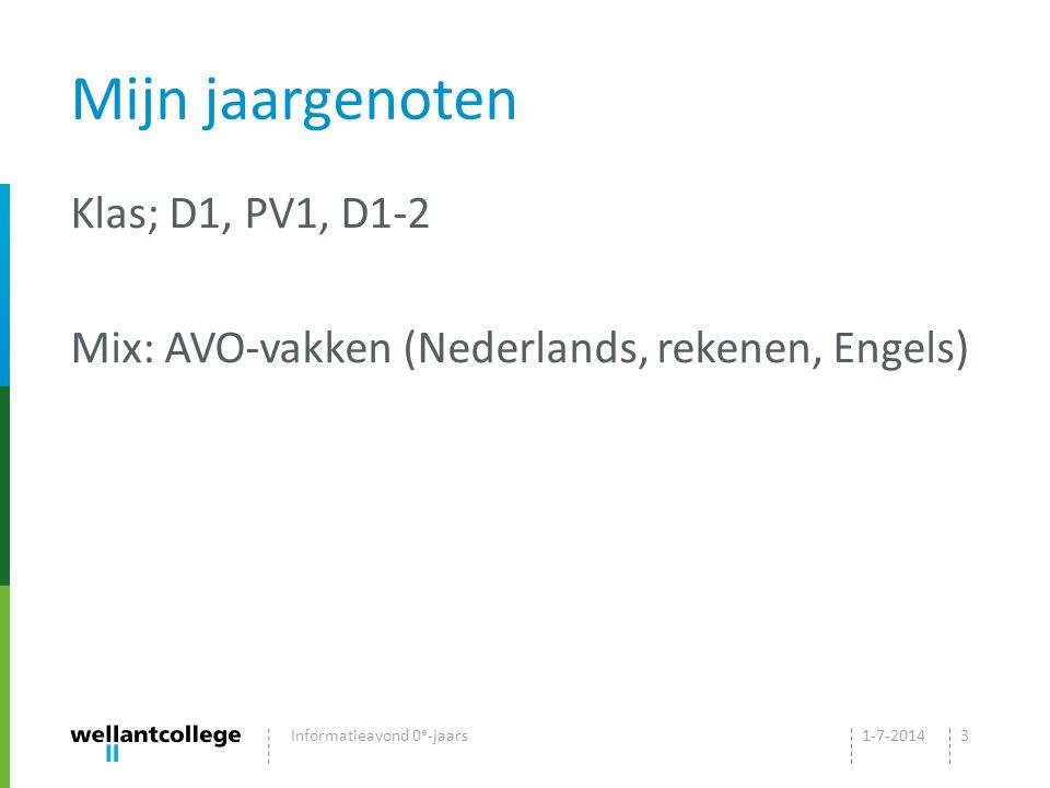 Mijn jaargenoten Klas; D1, PV1, D1-2 Mix: AVO-vakken (Nederlands, rekenen, Engels) 1-7-2014Informatieavond 0 e -jaars3