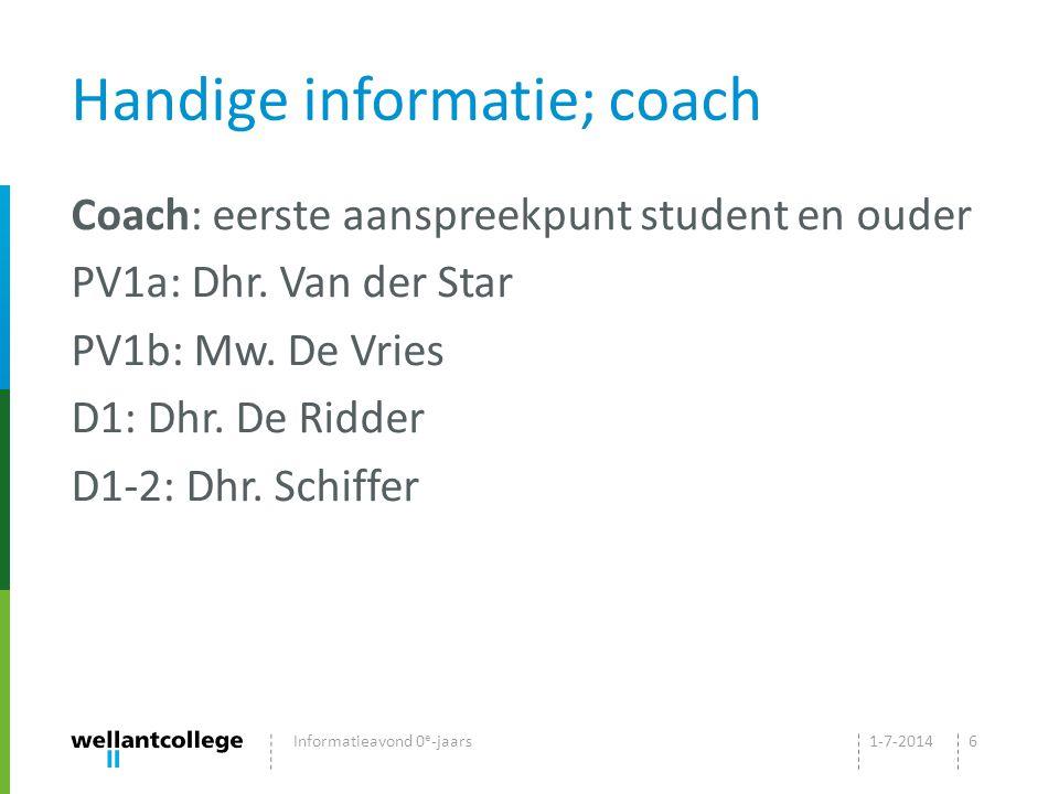 Handige informatie; coach Coach: eerste aanspreekpunt student en ouder PV1a: Dhr.