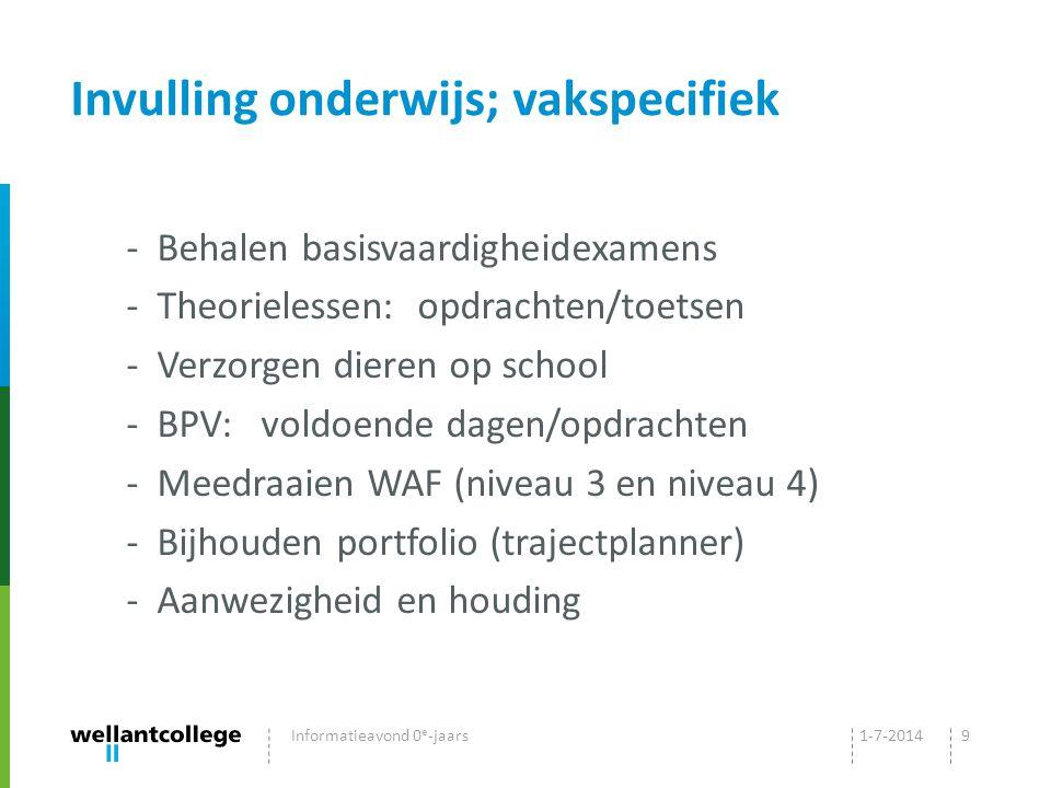Invulling onderwijs; vakspecifiek - Behalen basisvaardigheidexamens - Theorielessen: opdrachten/toetsen - Verzorgen dieren op school - BPV: voldoende dagen/opdrachten - Meedraaien WAF (niveau 3 en niveau 4) - Bijhouden portfolio (trajectplanner) - Aanwezigheid en houding 1-7-2014Informatieavond 0 e -jaars9