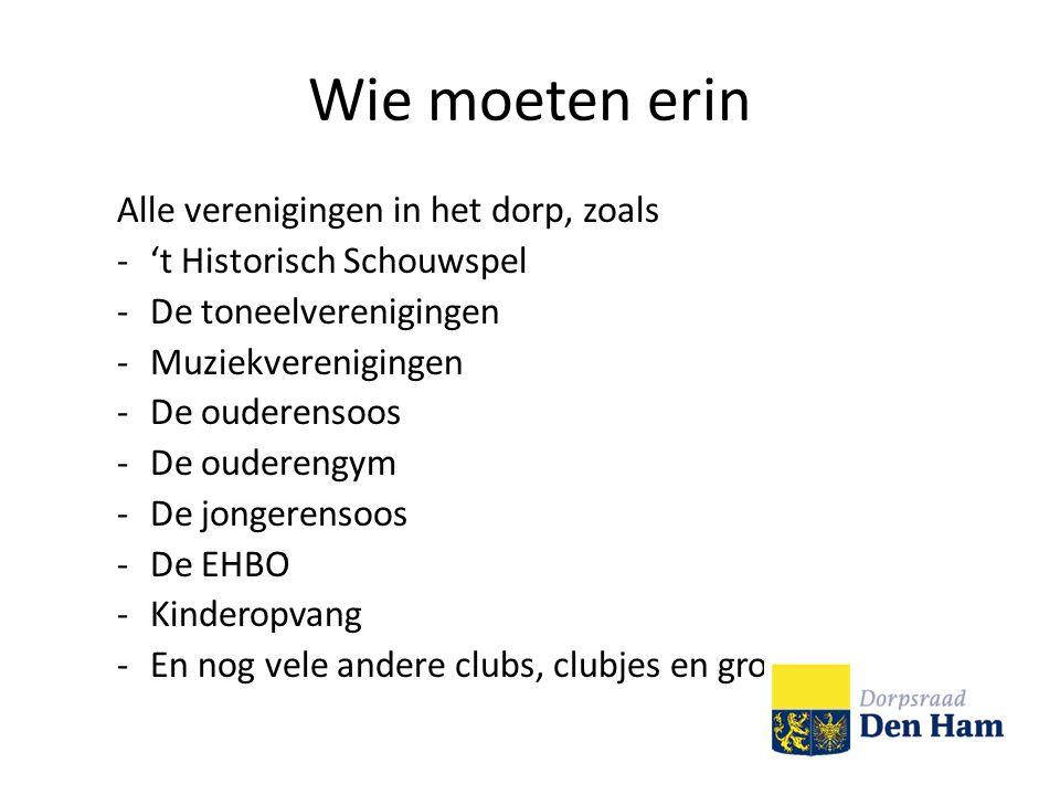 Wie moeten erin Alle verenigingen in het dorp, zoals -'t Historisch Schouwspel -De toneelverenigingen -Muziekverenigingen -De ouderensoos -De ouderengym -De jongerensoos -De EHBO -Kinderopvang -En nog vele andere clubs, clubjes en groepen.