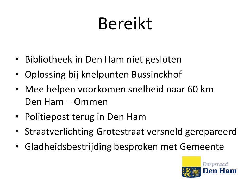 Bereikt Bibliotheek in Den Ham niet gesloten Oplossing bij knelpunten Bussinckhof Mee helpen voorkomen snelheid naar 60 km Den Ham – Ommen Politiepost terug in Den Ham Straatverlichting Grotestraat versneld gerepareerd Gladheidsbestrijding besproken met Gemeente