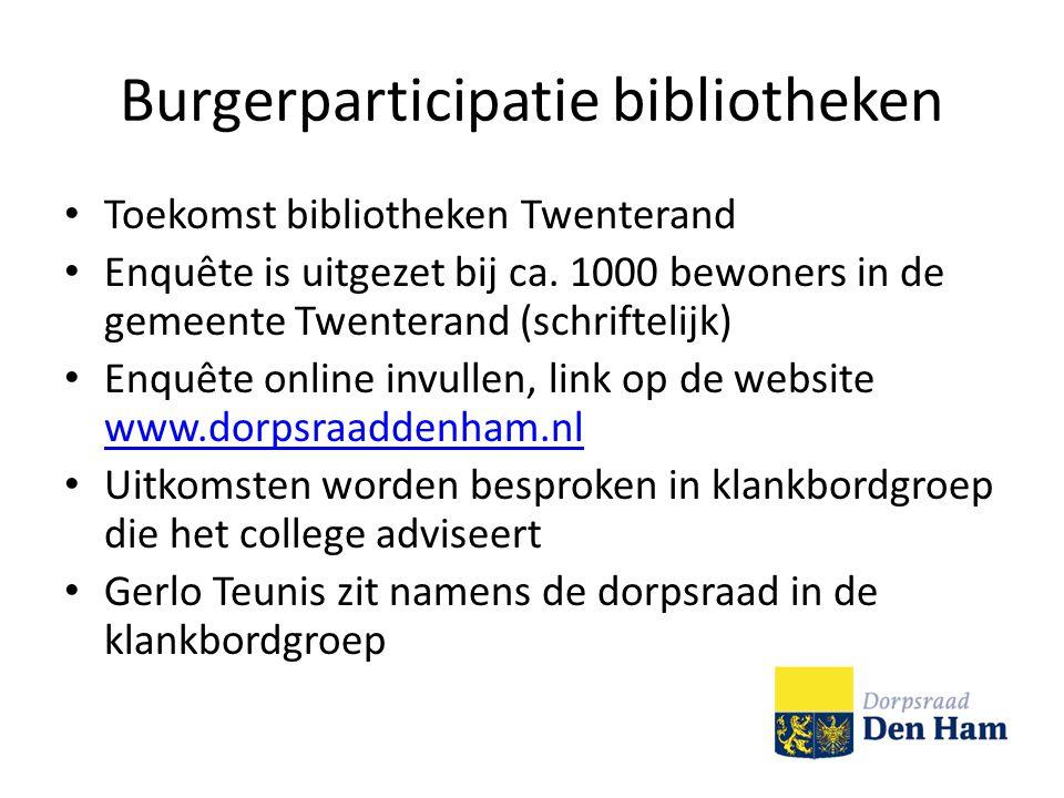 Burgerparticipatie bibliotheken Toekomst bibliotheken Twenterand Enquête is uitgezet bij ca.