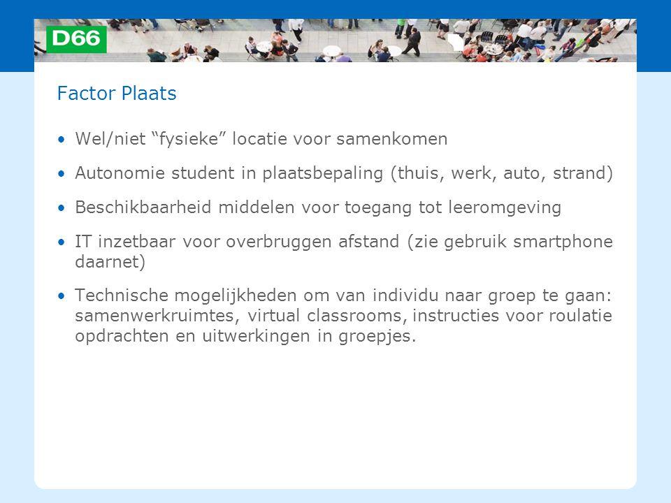 """Factor Plaats Wel/niet """"fysieke"""" locatie voor samenkomen Autonomie student in plaatsbepaling (thuis, werk, auto, strand) Beschikbaarheid middelen voor"""