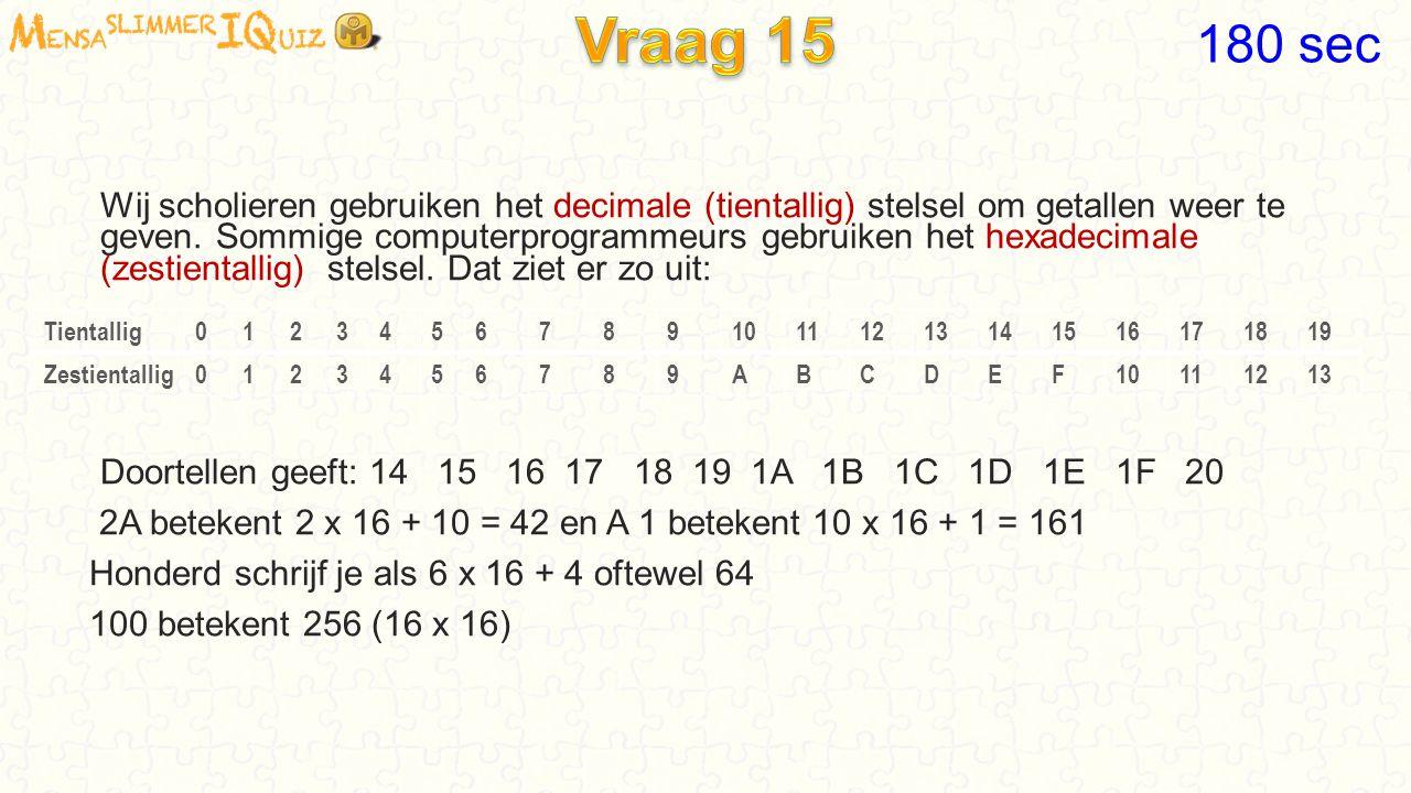 Wij scholieren gebruiken het decimale (tientallig) stelsel om getallen weer te geven. Sommige computerprogrammeurs gebruiken het hexadecimale (zestien