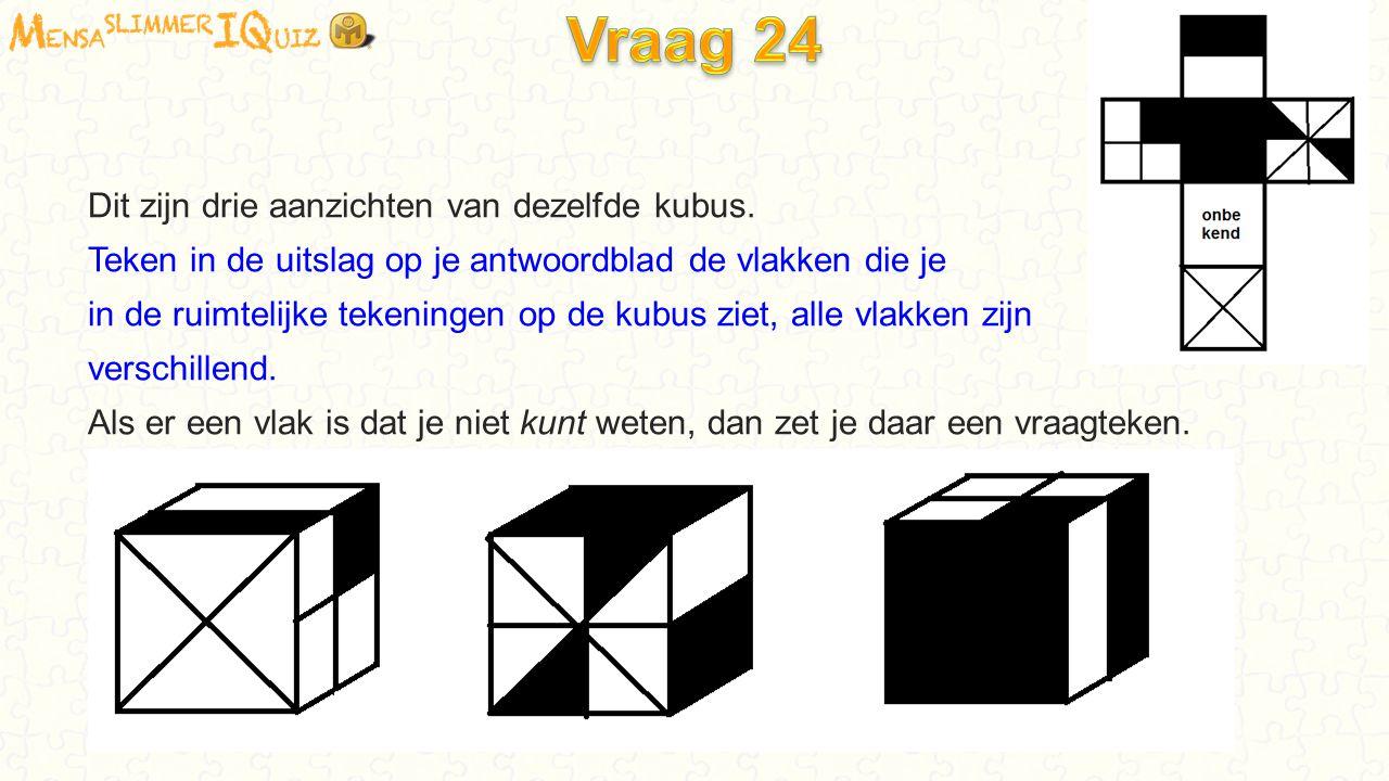 Dit zijn drie aanzichten van dezelfde kubus. Teken in de uitslag op je antwoordblad de vlakken die je in de ruimtelijke tekeningen op de kubus ziet, a