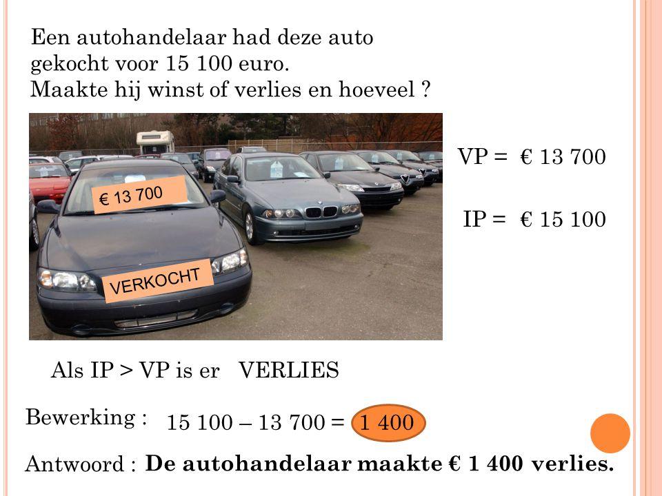 Een autohandelaar had deze auto gekocht voor 15 100 euro. Maakte hij winst of verlies en hoeveel ? € 13 700 VERKOCHT VP =€ 13 700 IP =€ 15 100 Als IP