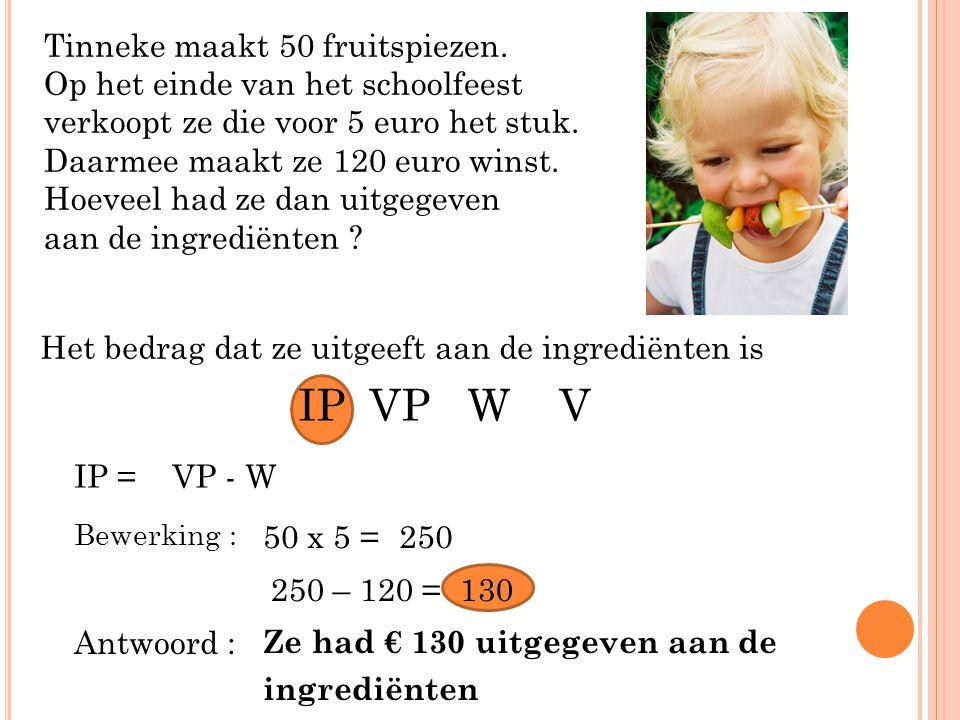 Tinneke maakt 50 fruitspiezen. Op het einde van het schoolfeest verkoopt ze die voor 5 euro het stuk. Daarmee maakt ze 120 euro winst. Hoeveel had ze