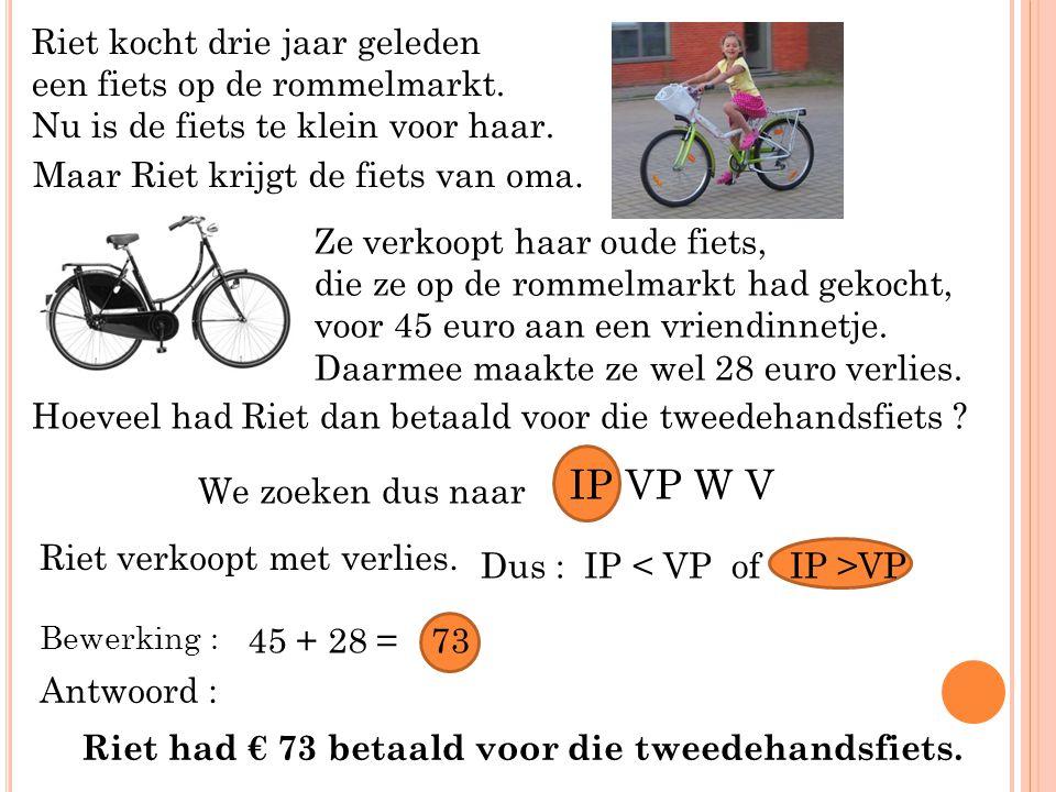Riet kocht drie jaar geleden een fiets op de rommelmarkt. Nu is de fiets te klein voor haar. Maar Riet krijgt de fiets van oma. Ze verkoopt haar oude