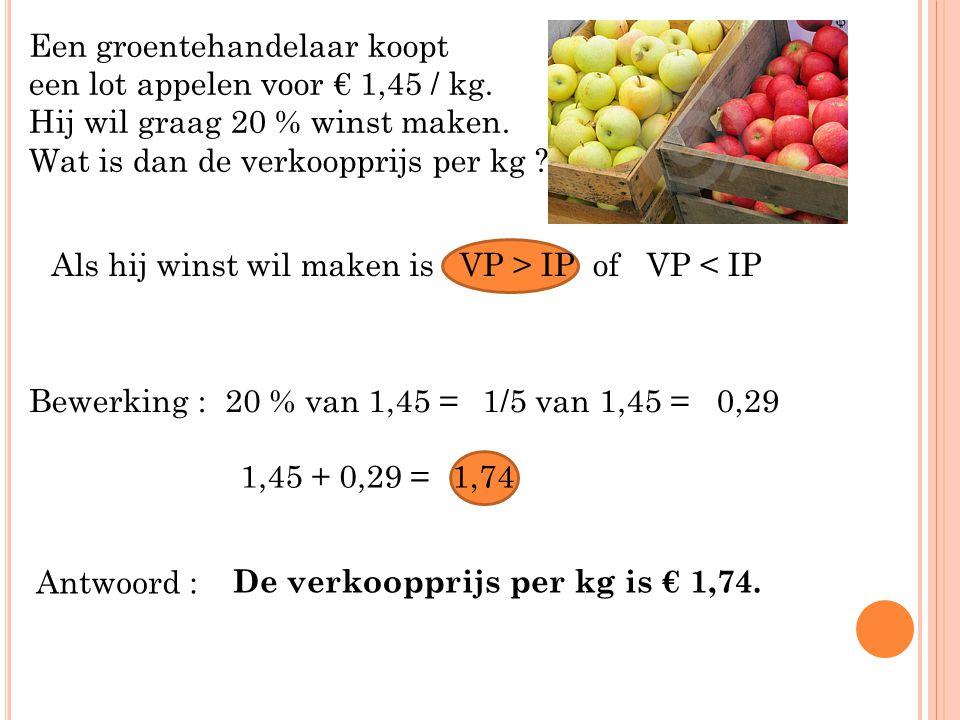 Een groentehandelaar koopt een lot appelen voor € 1,45 / kg. Hij wil graag 20 % winst maken. Wat is dan de verkoopprijs per kg ? Bewerking :20 % van 1