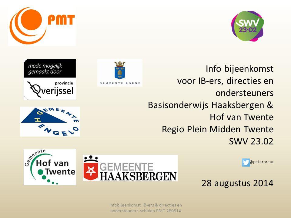 Info bijeenkomst voor IB-ers, directies en ondersteuners Basisonderwijs Haaksbergen & Hof van Twente Regio Plein Midden Twente SWV 23.02 @peterbreur 2