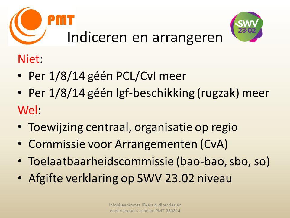 Indiceren en arrangeren Infobijeenkomst IB-ers & directies en ondersteuners scholen PMT 280814 Niet: Per 1/8/14 géén PCL/CvI meer Per 1/8/14 géén lgf-