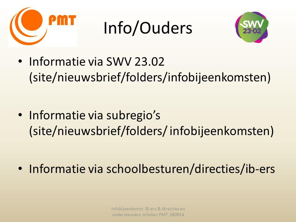 Info/Ouders Informatie via SWV 23.02 (site/nieuwsbrief/folders/infobijeenkomsten) Informatie via subregio's (site/nieuwsbrief/folders/ infobijeenkomst