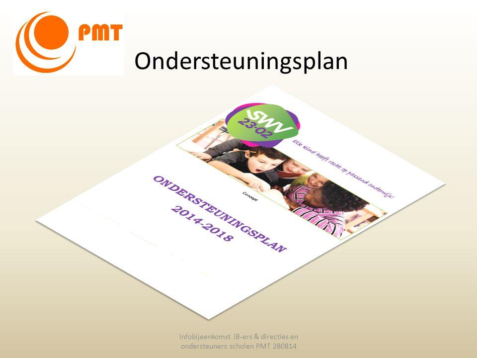 Ondersteuningsplan Infobijeenkomst IB-ers & directies en ondersteuners scholen PMT 280814