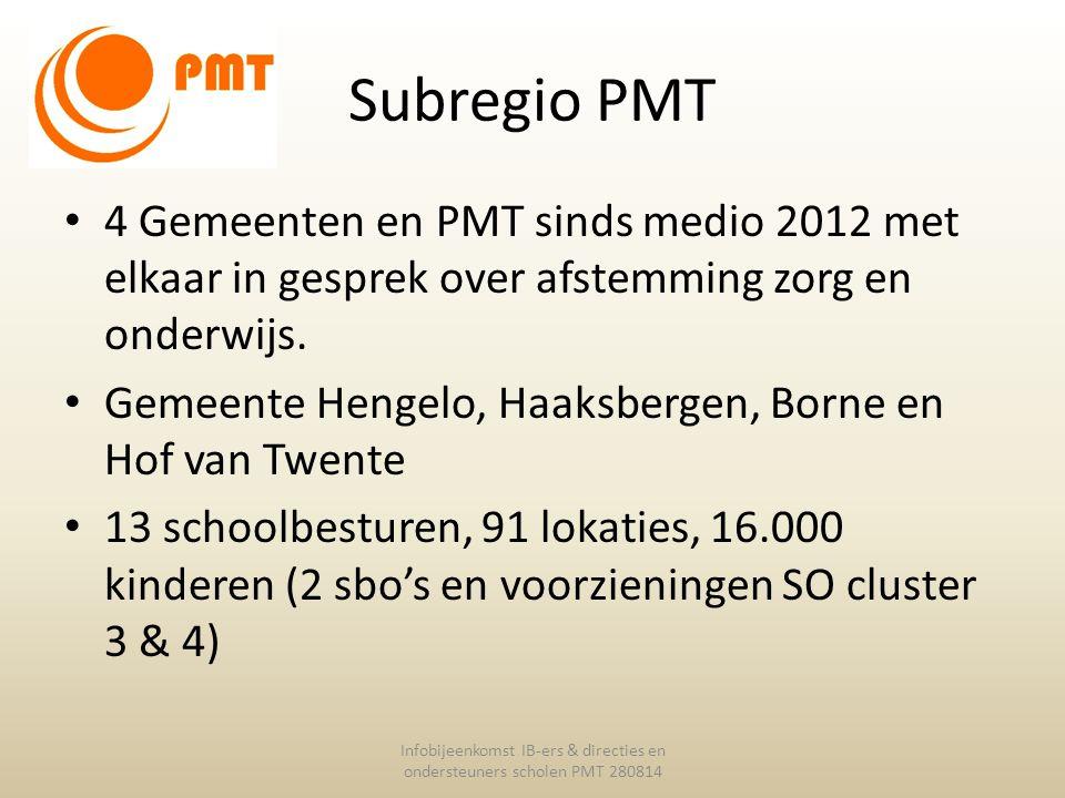 Subregio PMT 4 Gemeenten en PMT sinds medio 2012 met elkaar in gesprek over afstemming zorg en onderwijs. Gemeente Hengelo, Haaksbergen, Borne en Hof