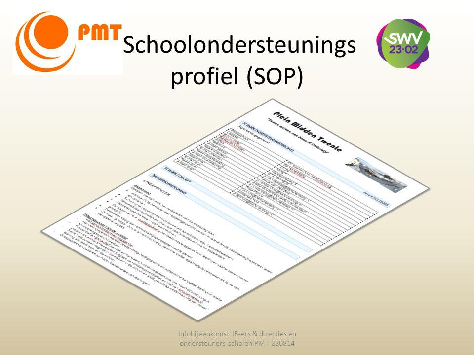 Schoolondersteunings profiel (SOP) Infobijeenkomst IB-ers & directies en ondersteuners scholen PMT 280814