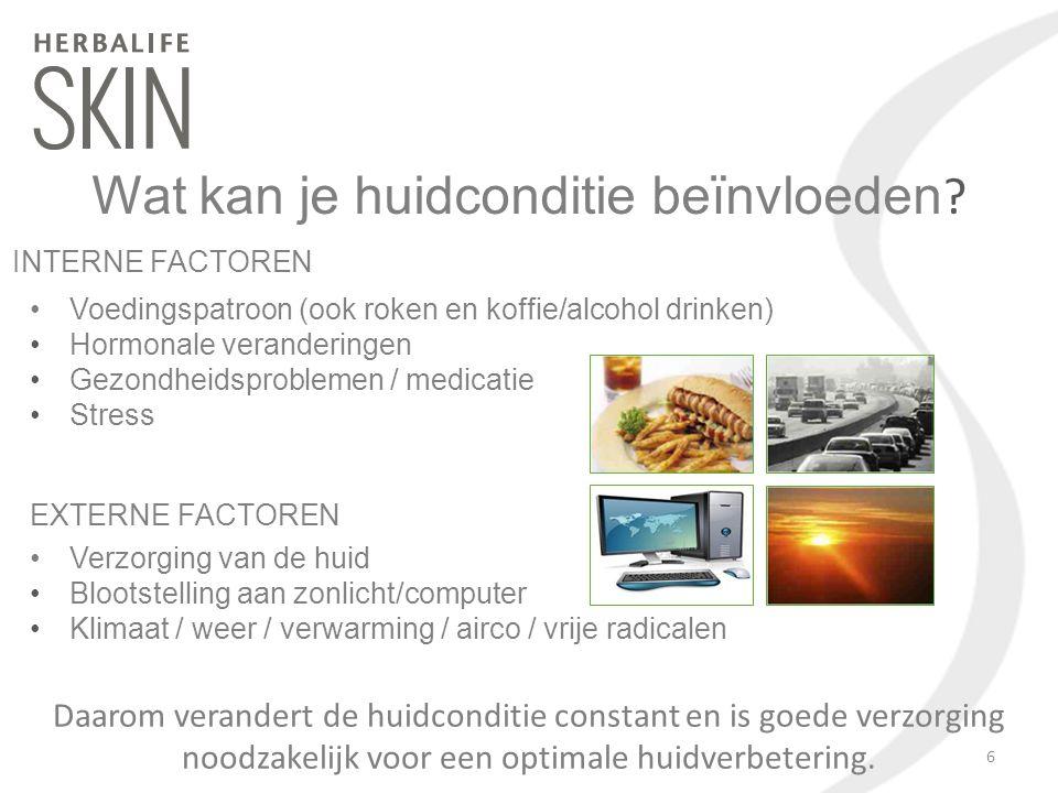 Wat kan je huidconditie beïnvloeden ? Voedingspatroon (ook roken en koffie/alcohol drinken) Hormonale veranderingen Gezondheidsproblemen / medicatie S