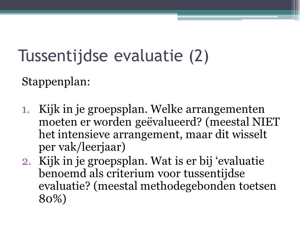 Tussentijdse evaluatie (2) Stappenplan: 1.Kijk in je groepsplan. Welke arrangementen moeten er worden geëvalueerd? (meestal NIET het intensieve arrang