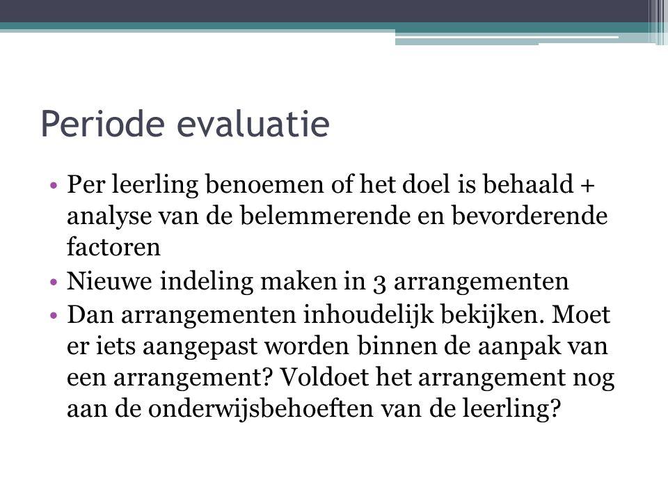 Periode evaluatie Per leerling benoemen of het doel is behaald + analyse van de belemmerende en bevorderende factoren Nieuwe indeling maken in 3 arran