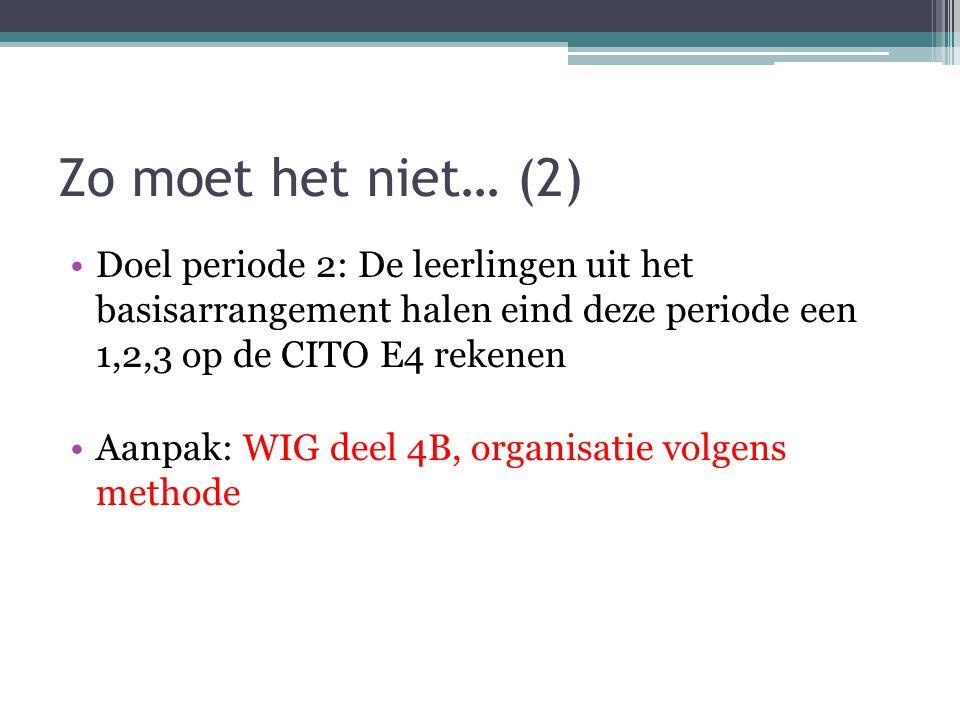 Zo moet het niet… (2) Doel periode 2: De leerlingen uit het basisarrangement halen eind deze periode een 1,2,3 op de CITO E4 rekenen Aanpak: WIG deel 4B, organisatie volgens methode