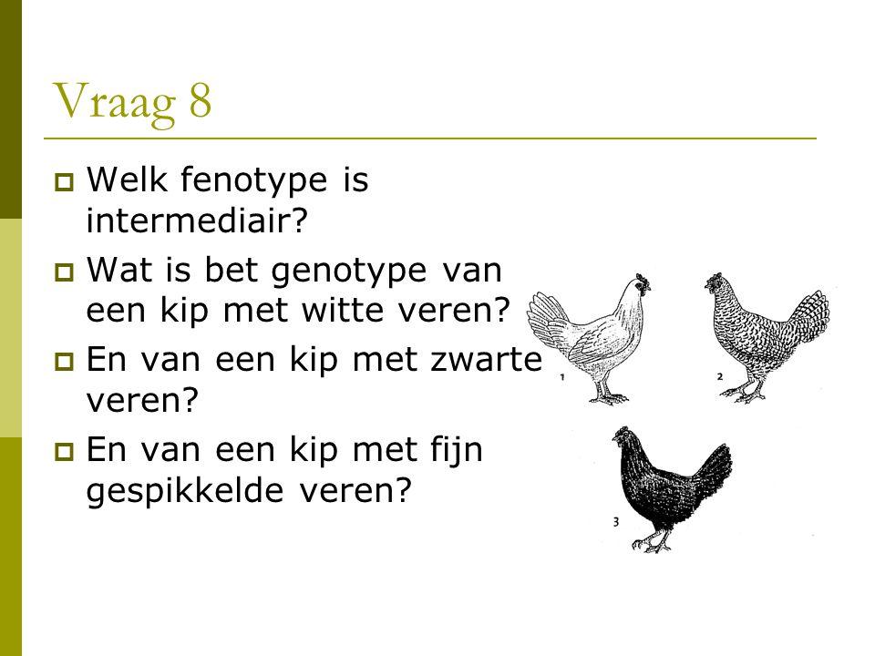 Vraag 8  Welk fenotype is intermediair?  Wat is bet genotype van een kip met witte veren?  En van een kip met zwarte veren?  En van een kip met fi