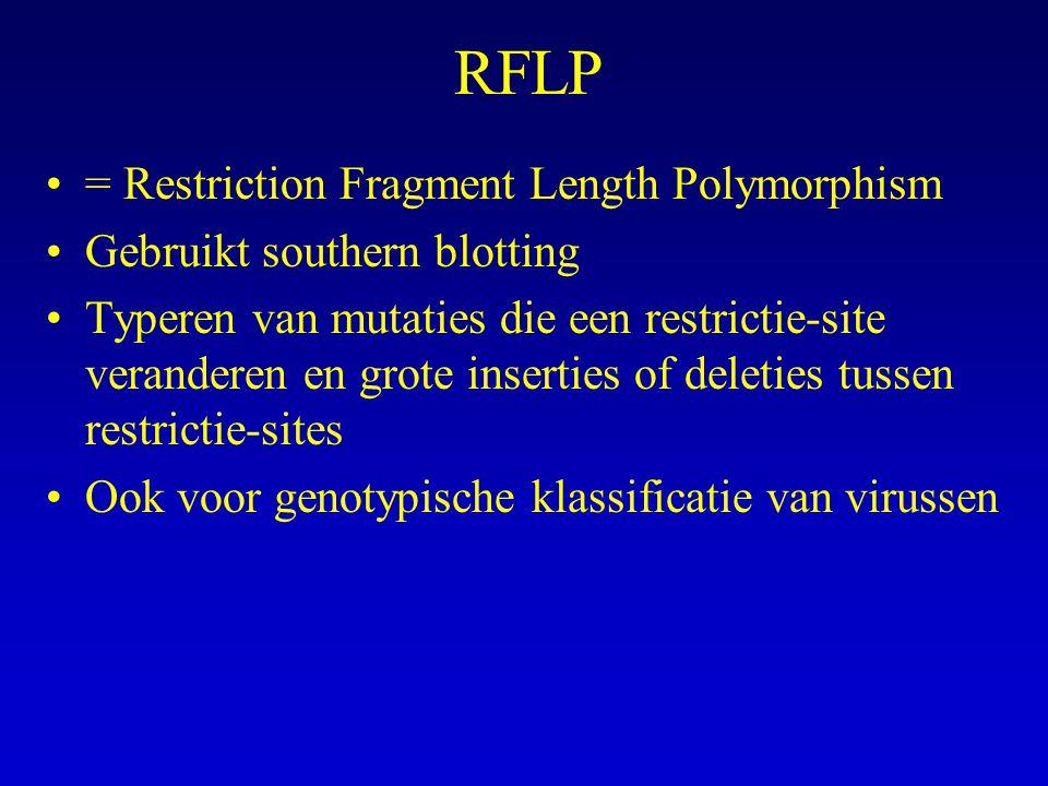 RFLP = Restriction Fragment Length Polymorphism Gebruikt southern blotting Typeren van mutaties die een restrictie-site veranderen en grote inserties