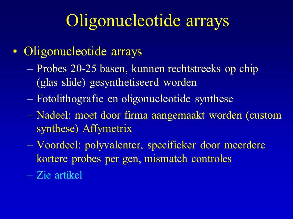 –Probes 20-25 basen, kunnen rechtstreeks op chip (glas slide) gesynthetiseerd worden –Fotolithografie en oligonucleotide synthese –Nadeel: moet door f