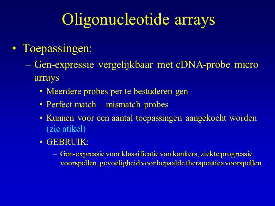Oligonucleotide arrays Toepassingen: –Gen-expressie vergelijkbaar met cDNA-probe micro arrays Meerdere probes per te bestuderen gen Perfect match – mi