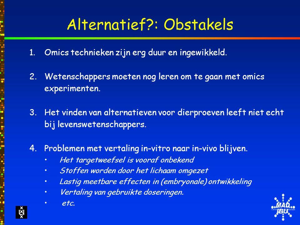 IBU Alternatief : Obstakels 1.Omics technieken zijn erg duur en ingewikkeld.