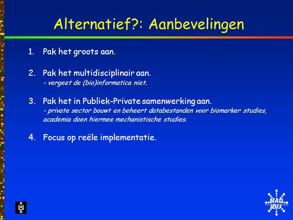 IBU Alternatief : Aanbevelingen 1.Pak het groots aan.