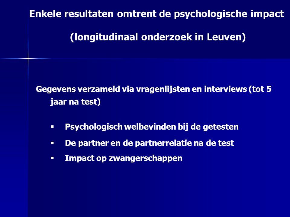 Enkele resultaten omtrent de psychologische impact (longitudinaal onderzoek in Leuven) Gegevens verzameld via vragenlijsten en interviews (tot 5 jaar na test)  Psychologisch welbevinden bij de getesten  De partner en de partnerrelatie na de test  Impact op zwangerschappen