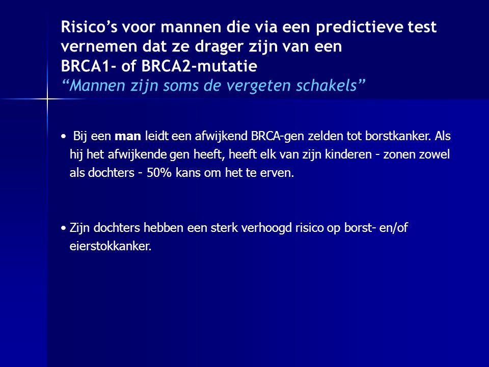 Risico's voor mannen die via een predictieve test vernemen dat ze drager zijn van een BRCA1- of BRCA2-mutatie Mannen zijn soms de vergeten schakels Bij een man leidt een afwijkend BRCA-gen zelden tot borstkanker.