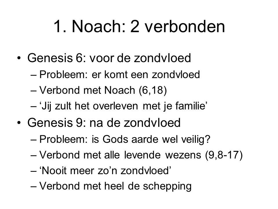 1. Noach: 2 verbonden Genesis 6: voor de zondvloed –Probleem: er komt een zondvloed –Verbond met Noach (6,18) –'Jij zult het overleven met je familie'