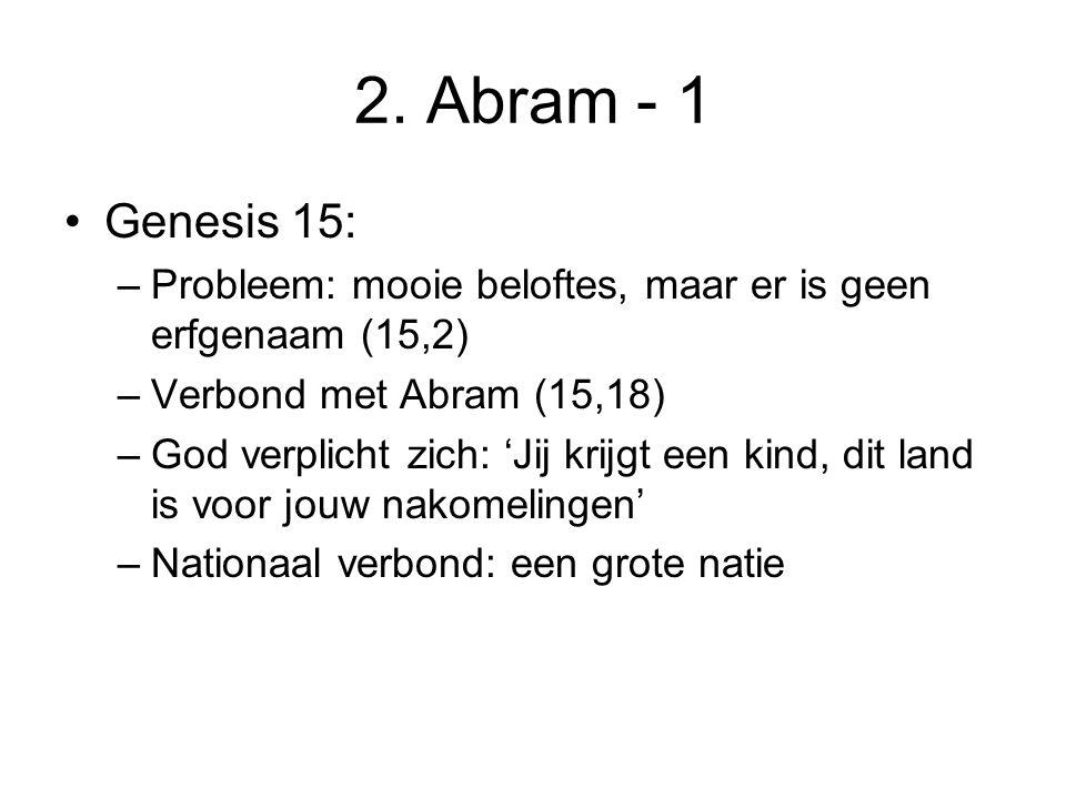 2. Abram - 1 Genesis 15: –Probleem: mooie beloftes, maar er is geen erfgenaam (15,2) –Verbond met Abram (15,18) –God verplicht zich: 'Jij krijgt een k