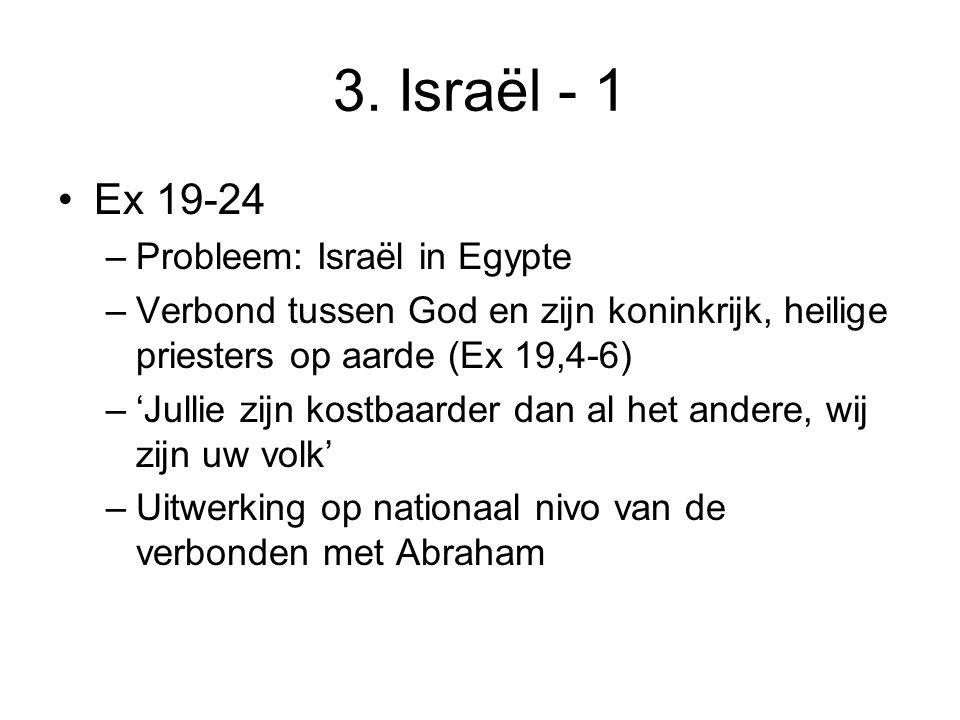 3. Israël - 1 Ex 19-24 –Probleem: Israël in Egypte –Verbond tussen God en zijn koninkrijk, heilige priesters op aarde (Ex 19,4-6) –'Jullie zijn kostba