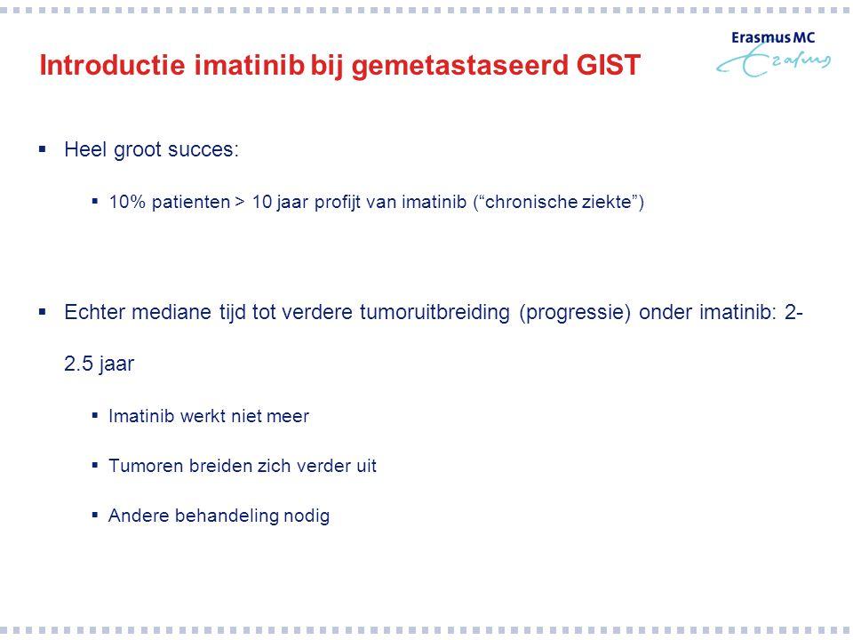 """Introductie imatinib bij gemetastaseerd GIST  Heel groot succes:  10% patienten > 10 jaar profijt van imatinib (""""chronische ziekte"""")  Echter median"""
