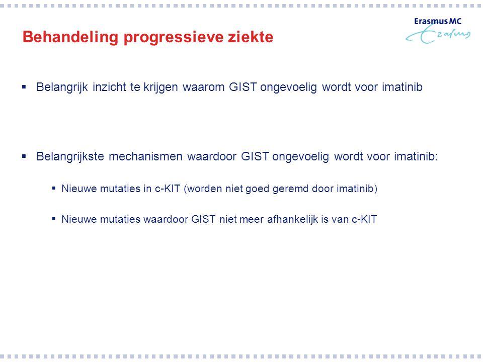 Behandeling progressieve ziekte  Belangrijk inzicht te krijgen waarom GIST ongevoelig wordt voor imatinib  Belangrijkste mechanismen waardoor GIST o