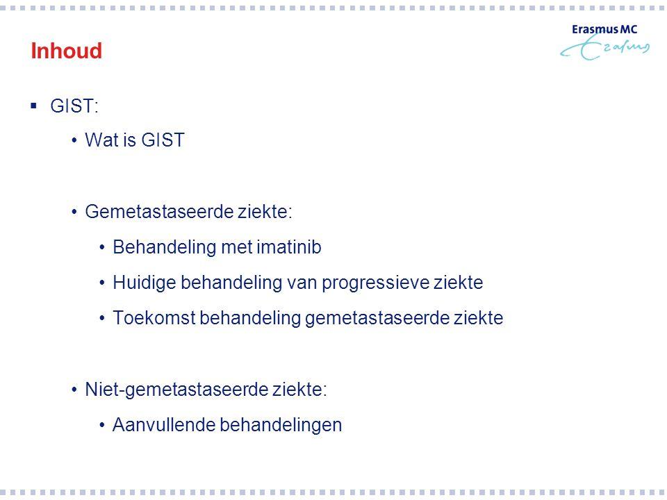 Inhoud  GIST: Wat is GIST Gemetastaseerde ziekte: Behandeling met imatinib Huidige behandeling van progressieve ziekte Toekomst behandeling gemetasta